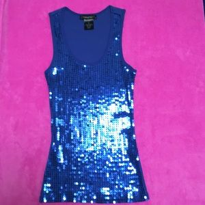 Tops - Fleurish Sapphire blue sequined embellished tank-M